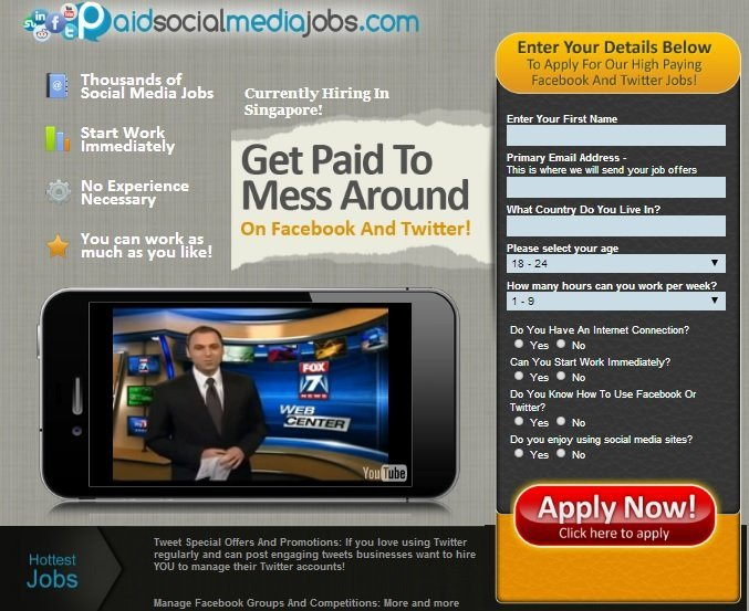 Paid Social Media Jobs Review - Sales Page