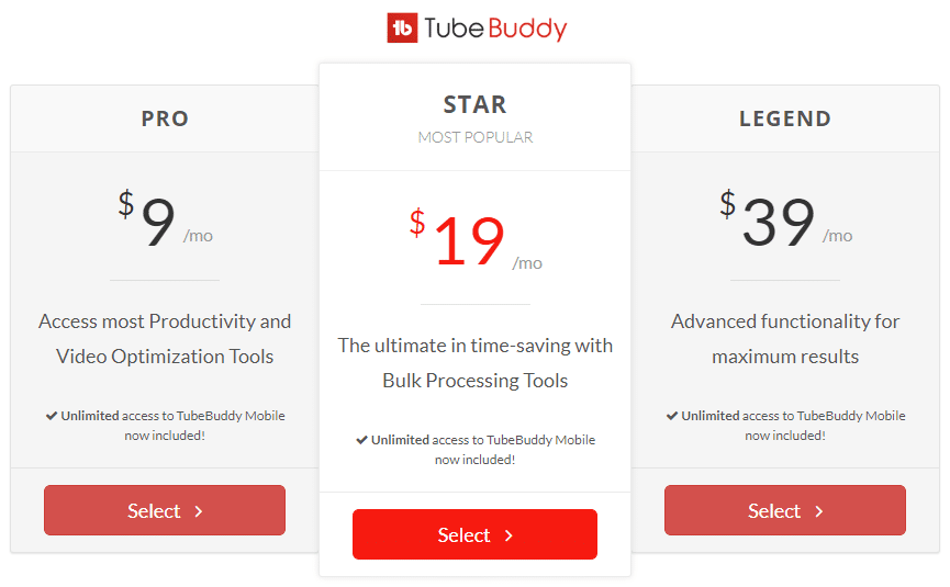 Best Recurring Affiliate Programs - TubeBuddy