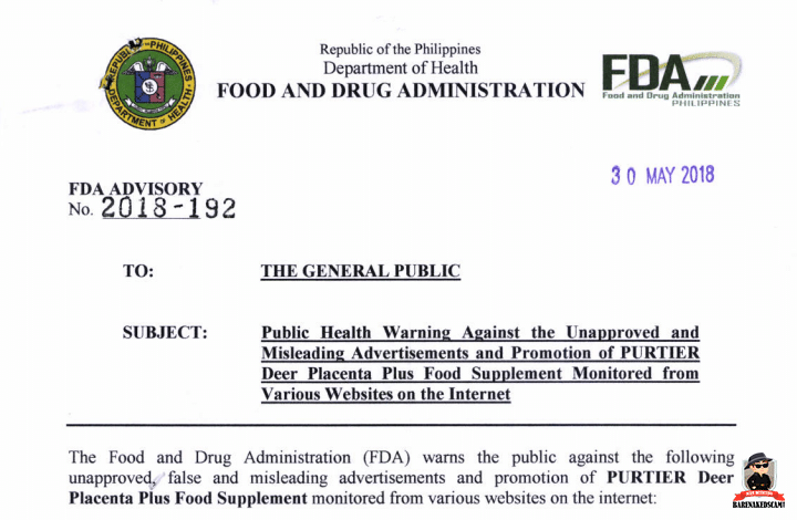 Riway Purtier - FDA Philippines Warning